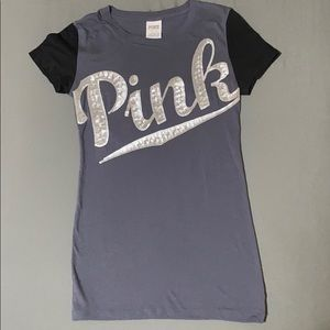 PINK short sleeve tee with bling on the front.